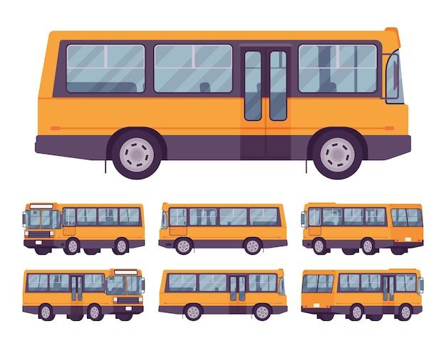 Zestaw żółty autobus na białym tle
