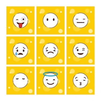Zestaw żółty emoji projekt wektor