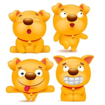 Zestaw żółty pies emoji kreskówka