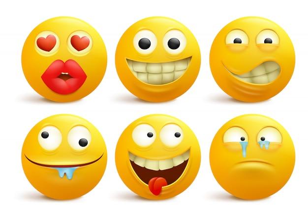 Zestaw żółtych buźkę emotikon postaci z kreskówek.
