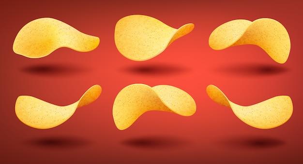 Zestaw żółtych chrupiących chipsów ziemniaczanych