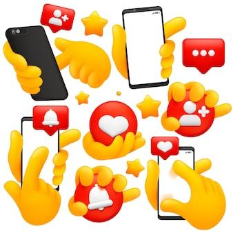 Zestaw żółtych dłoni emoji. smartfon, media społecznościowe, znaki przesuwania.