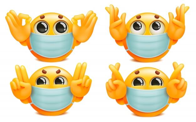 Zestaw żółtych emoji postaci z kreskówek w masce medycznej. różne gesty.