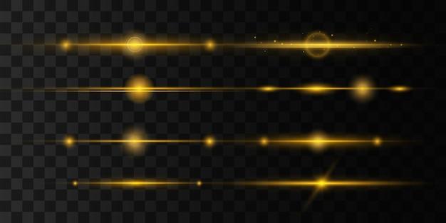 Zestaw żółtych flar z poziomymi soczewkami, wiązki laserowe, rozbłysk światła. promienie świetlne linia blasku jasny złoty blask na przezroczystym tle świecące smugi. świetliste abstrakcyjne musujące linie. ilustracja