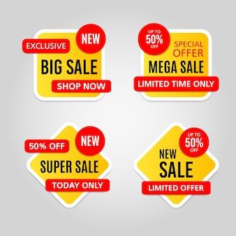 Zestaw żółtych i czerwonych naklejek witryny sprzedaży na szarym tle