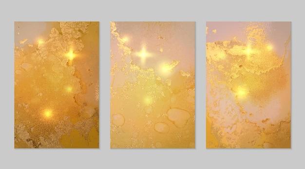 Zestaw żółtych i złotych abstrakcyjnych marmurowych tekstur tła