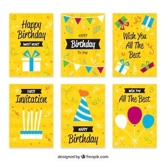 Zestaw żółtych kart urodzinowych