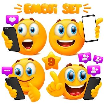 Zestaw żółtych kreskówek emoji z różnymi wyrazami twarzy w błyszczącym 3d. koncepcja gestów smartfona.