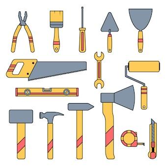 Zestaw żółtych narzędzi budowlanych narzędzia dla pracowników naprawy