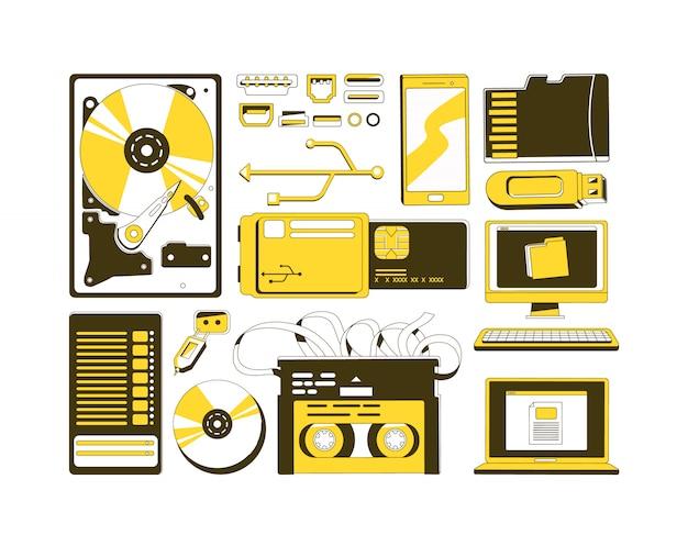 Zestaw żółtych obiektów liniowych do przechowywania danych