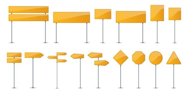 Zestaw żółtych paneli tekstowych drogi. znaki drogowe.