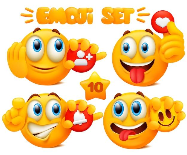 Zestaw żółtych postaci z kreskówek emoji z różnymi wyrazami twarzy w błyszczącym 3d. koncepcja sieci mediów społecznościowych.