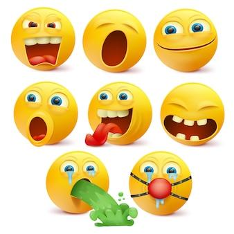 Zestaw żółtych znaków emoji z różnymi emocjami.