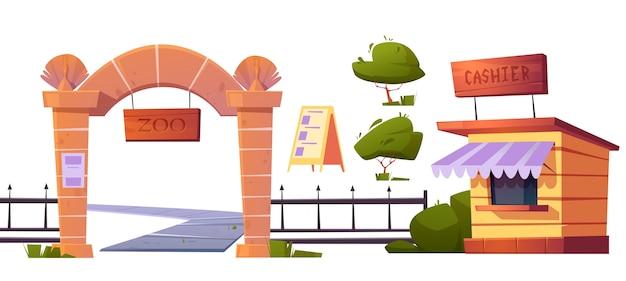 Zestaw zoo na świeżym powietrzu z dzikimi zwierzętami. bramy z szyldem drewnianym, metalowe ogrodzenie i kamienne filary, budka kasowa, baner wejściowy i zielony krzew na białym tle ilustracja kreskówka