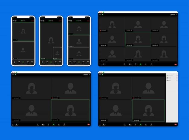 Zestaw zoom app spotkania aplikacja do połączeń wideo, szablon ekranu połączenia.