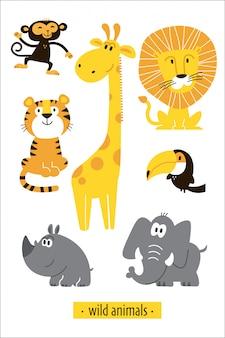 Zestaw zwierząt afrykańskich. cartoon monkey, żyrafa, lew, hipopotam, słoń, tygrys, pirat tukan.