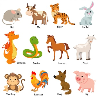 Zestaw zwierząt chińskiego zodiaku.
