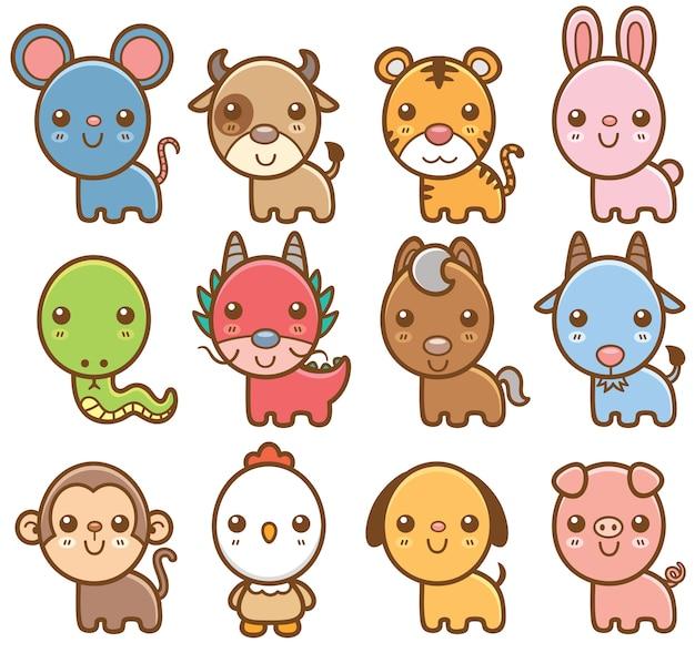 Zestaw zwierząt chińskiego zodiaku