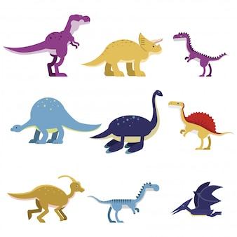 Zestaw zwierząt dinozaurów kreskówek, słodkie prehistoryczne i jurajskie potwory kolorowe ilustracje
