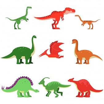 Zestaw zwierząt dinozaurów kreskówka, prehistoryczne i jurajskie potwory kolorowe ilustracje