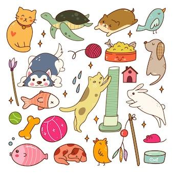 Zestaw zwierząt domowych kawaii doodle zestaw ilustracji wektorowych
