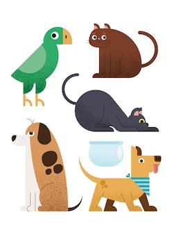 Zestaw zwierząt domowych zwierząt domowych