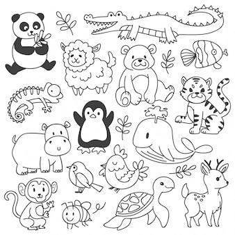 Zestaw zwierząt doodle na białym tle