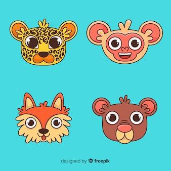 Zestaw zwierząt dżungli: lampart, małpa, niedźwiedź, lis, kojot