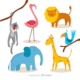 Zestaw zwierząt dżungli: małpa pawiana, flaming, lew, ptak, słoń, żyrafa