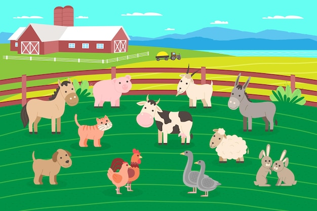 Zestaw zwierząt gospodarskich. kolekcja zwierząt domowych i zwierząt domowych: krowa, koń, osioł, pies, świnia, owca, koza, kot, królik, kogut i kurczak, gęś. ilustracja wektorowa w stylu płaskiej kreskówki