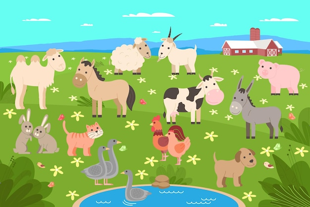 Zestaw zwierząt gospodarskich. kolekcja zwierząt domowych i zwierząt domowych: krowa, koń, osioł, wielbłąd, pies, świnia, owca, koza, kot, królik, kogut i kurczak, gęś. ilustracja wektorowa w stylu płaskiej kreskówki