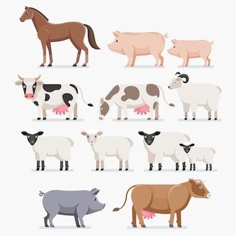 Zestaw zwierząt gospodarskich. koń świnia krowa koza i owca.