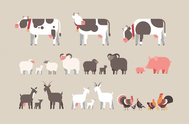 Zestaw zwierząt gospodarskich krowa koza świnia indyk owca kurczak ikony różne zwierzęta domowe kolekcja rolnictwo