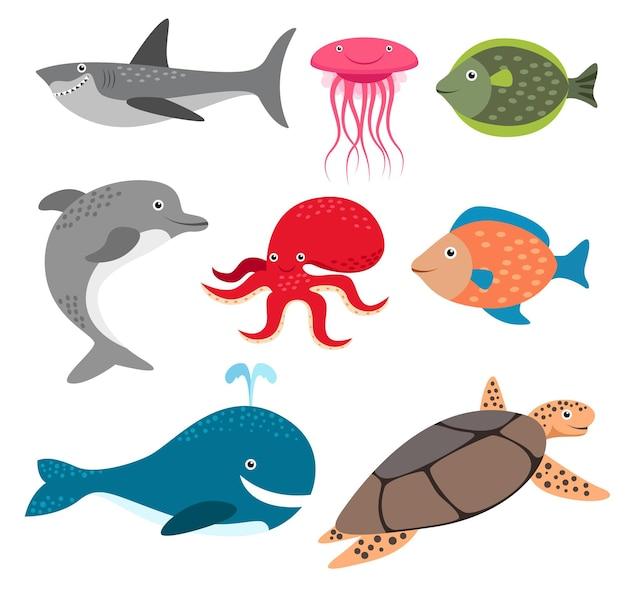 Zestaw zwierząt grupy stworzeń morskich, ryb, rekinów, delfinów, kałamarnic, wielorybów, żółwi, na białym