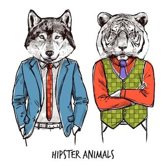 Zestaw zwierząt hipster