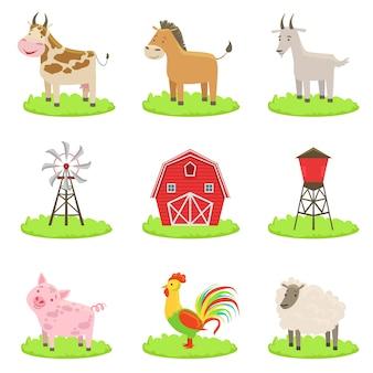 Zestaw zwierząt i przedmiotów związanych z farmą
