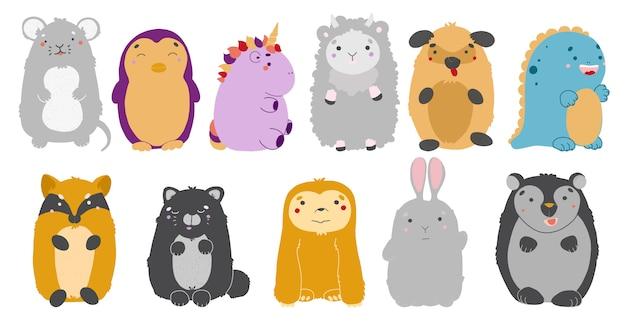 Zestaw zwierząt kawaii. ilustracja uroczych zwierzątek. mysz, pingwin, jednorożec, owca, pies, dinozaur, lis kot leniwiec zając niedźwiedź