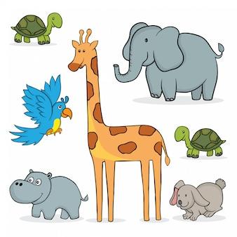 Zestaw zwierząt kreskówek