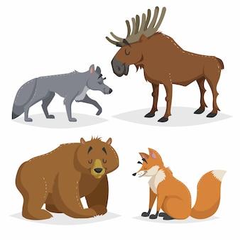 Zestaw zwierząt leśnych ameryki północnej i europy. wilk, łoś, niedźwiedź i rudy lis. szczęśliwe uśmiechnięte i wesołe postacie.
