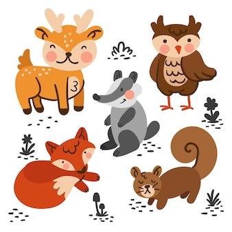 Zestaw zwierząt leśnych jesień