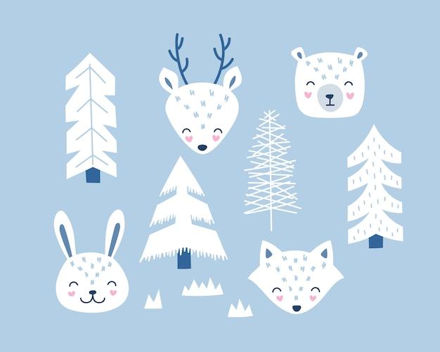 Zestaw zwierząt leśnych, lisa, niedźwiedzia, jelenia, zająca w stylu skandynawskim.