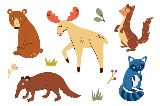 Zestaw zwierząt leśnych. ręcznie rysować niedźwiedź, mrówkojad, łoś, fretka i szop pracz. dzikie zwierzęta leśne. styl skandynawski. idealny do scrapbookingu, kartek, plakatu, przywieszki, zestawu naklejek. ilustracja wektorowa
