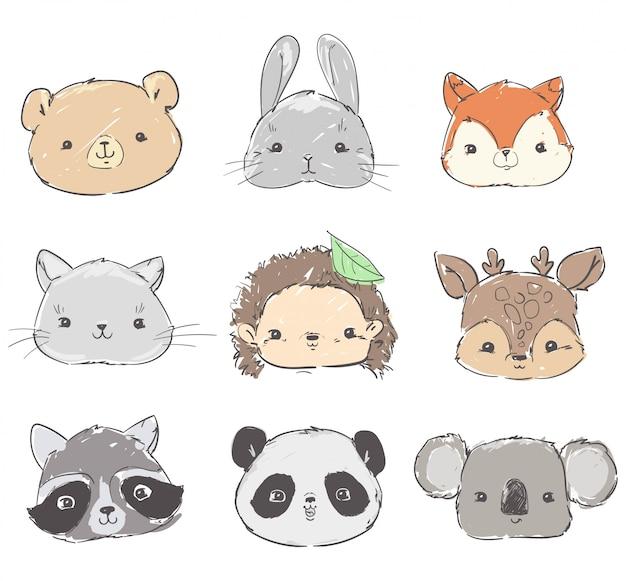 Zestaw zwierząt leśnych, ręcznie rysowany słodki królik, panda, lis, niedźwiedź, szop, jeż i jeleń