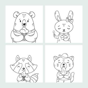 Zestaw zwierząt letnich słodkie śmieszne kreskówki. niedźwiedź, królik, szop i kot jedzący lody, lizanie popsicle, stożek. kolorowanki sztuka czarno-biała.