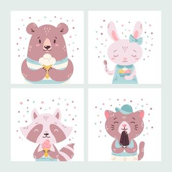 Zestaw zwierząt letnich słodkie śmieszne kreskówki. niedźwiedź, królik, szop i kot jedzący lody, lizanie popsicle, stożek.