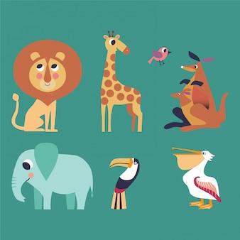 Zestaw zwierząt lew, żyrafa, kangur, słoń, tukan, pelikan.