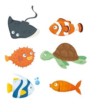 Zestaw zwierząt, mieszkańców świata morskiego, słodkie podwodne stworzenia, siedlisko morskie