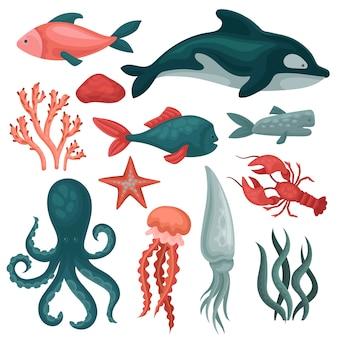 Zestaw zwierząt morskich i przedmiotów. ryby, meduza, czerwony krab, kałamarnica, ośmiornica, seastar, wodorosty morskie i kamienie