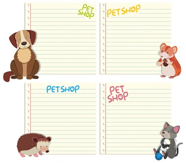 Zestaw zwierząt na szablonie notatki