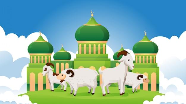 Zestaw zwierząt ofiarnych przed meczetem na święto eid al adha